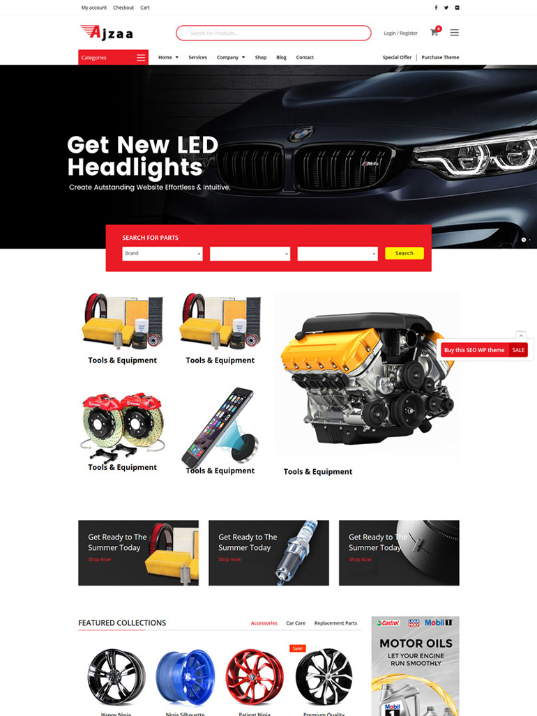 Ajzaa - Auto Parts & Car Accessories Store WordPress Theme