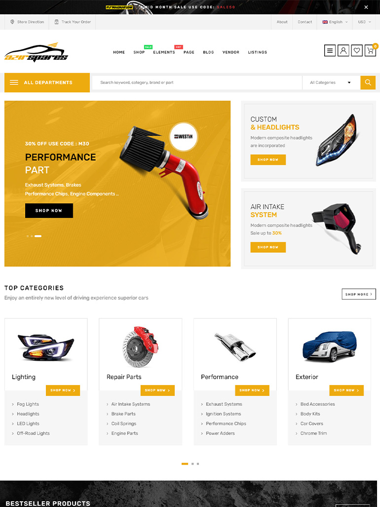 Azirspares - Auto Part & Car Listing WordPress Theme