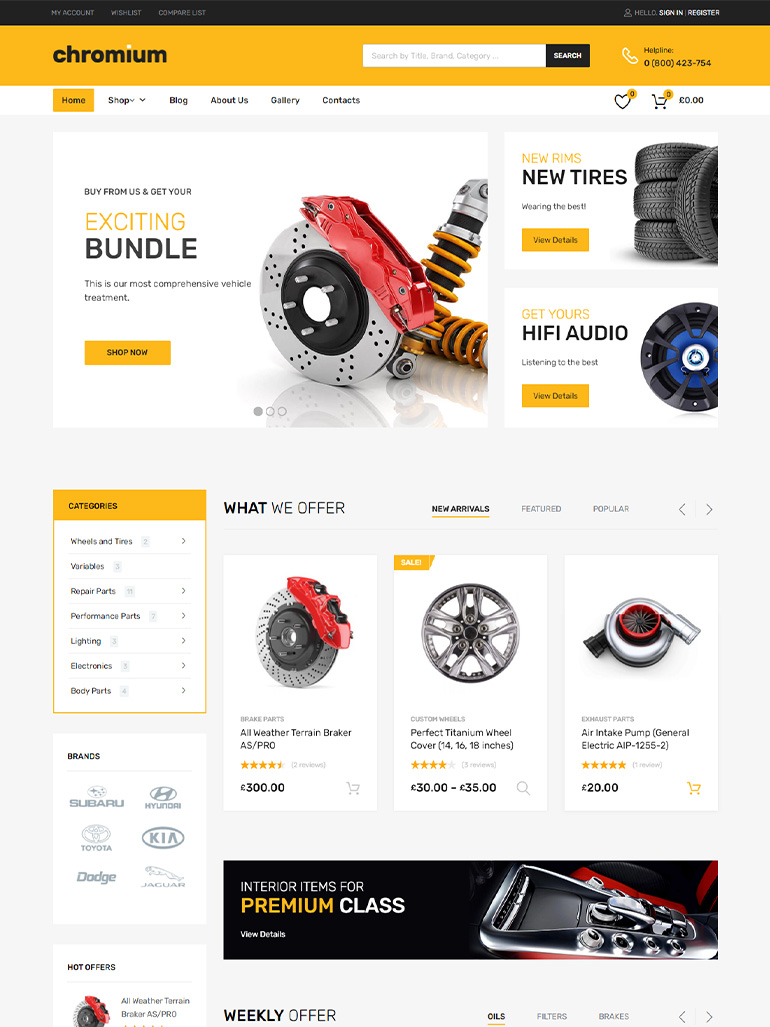 Chromium - Auto Parts Shop WordPress WooCommerce Theme