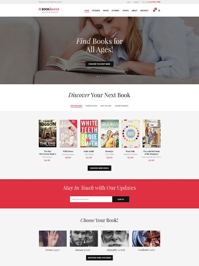 Booklovers - Publishing House & Book Store WordPress Theme