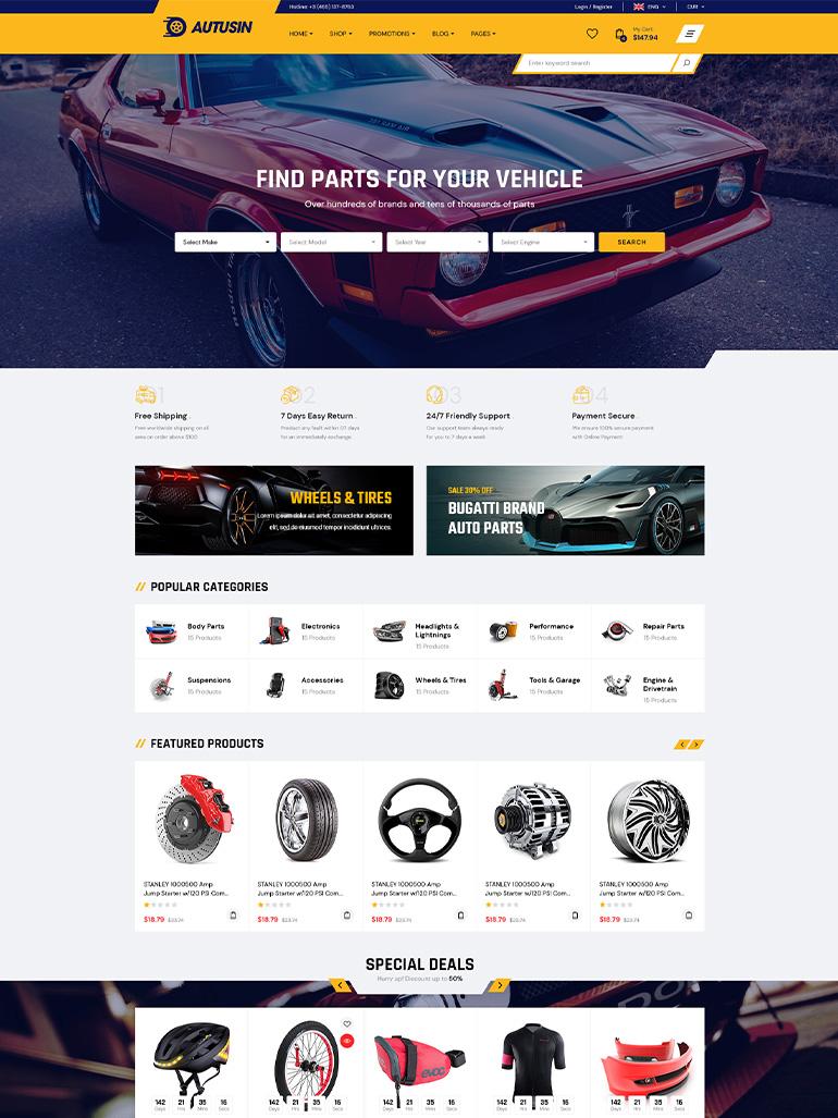 Autusin - Auto Parts Shop Elementor WordPress Theme