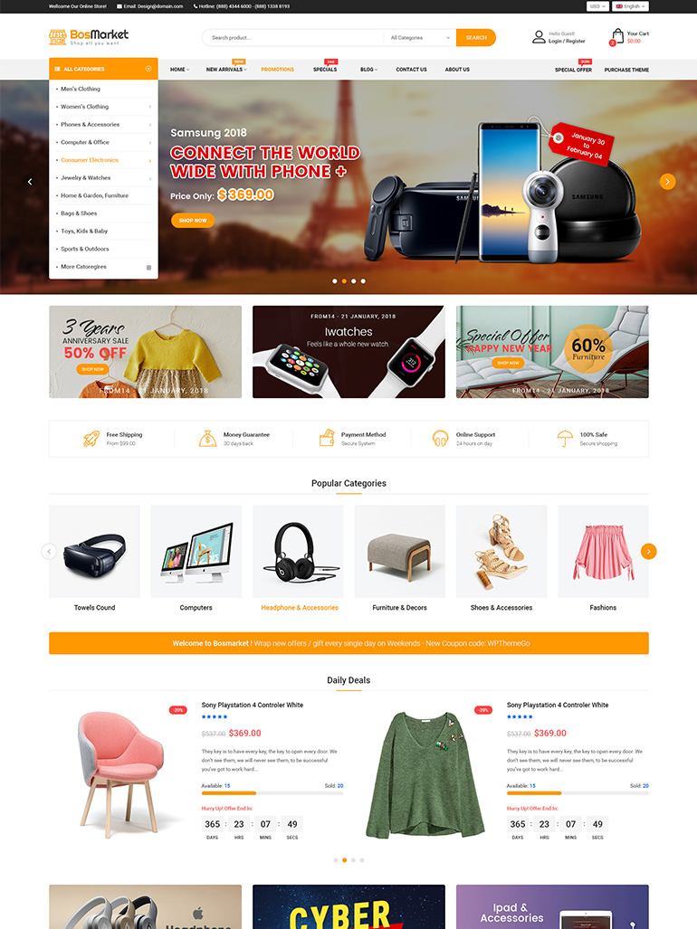 BosMarket – Flexible Multi-Vendor ELementor WooCommerce Theme