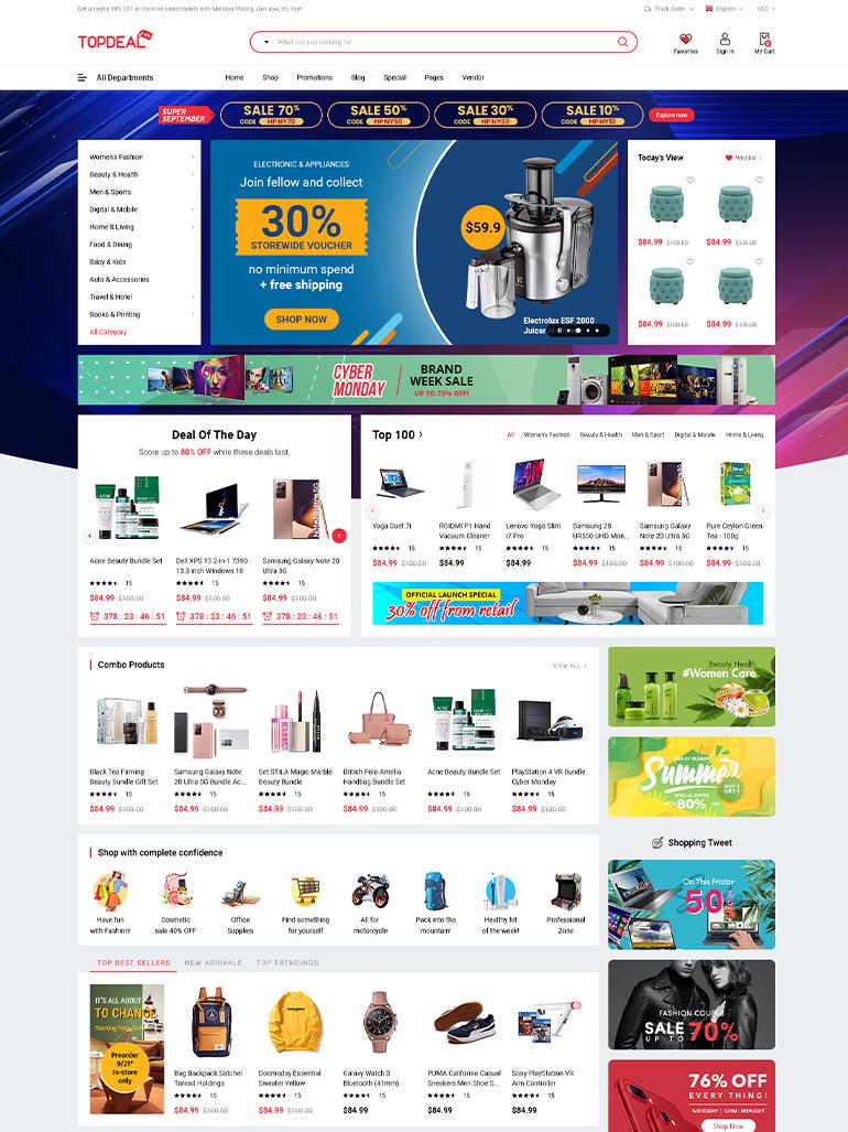 TopDeal - Multi-Vendor Marketplace Elementor WordPress Theme