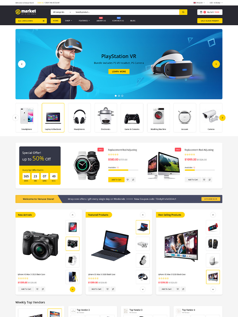 eMarket - Multi Vendor MarketPlace Elementor WordPress Theme