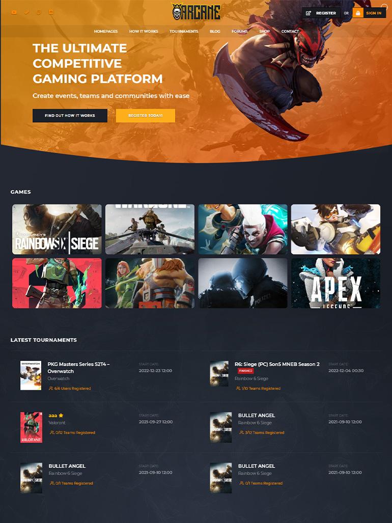 Arcane - The Gaming Community Theme