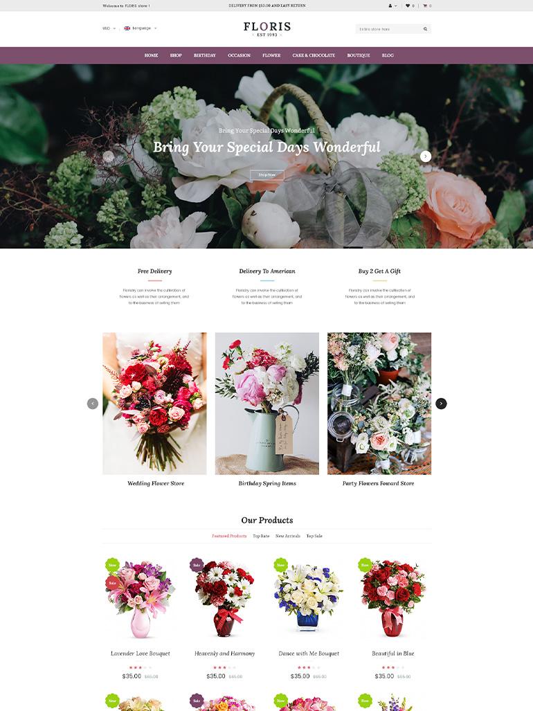 Floris - Flower Shop WordPress WooCommerce Theme