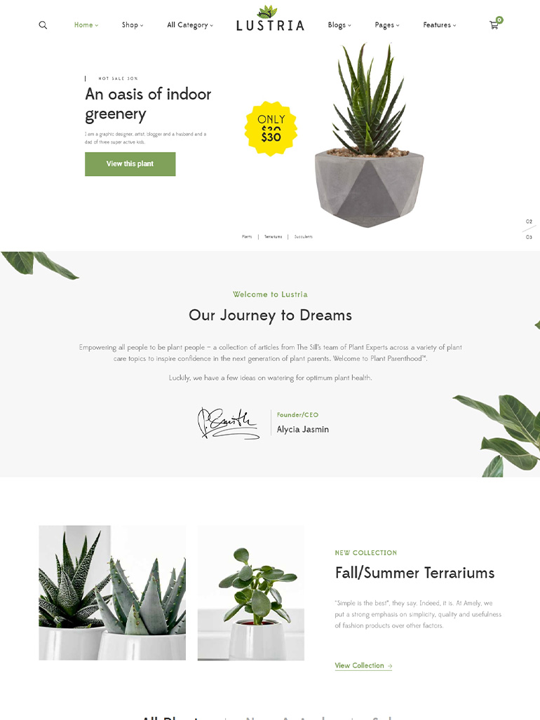 Lustria - MultiPurpose Plant Store WordPress Theme