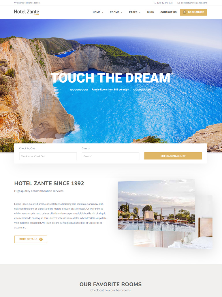 Hotel Zante – Hotel Booking WordPress Theme