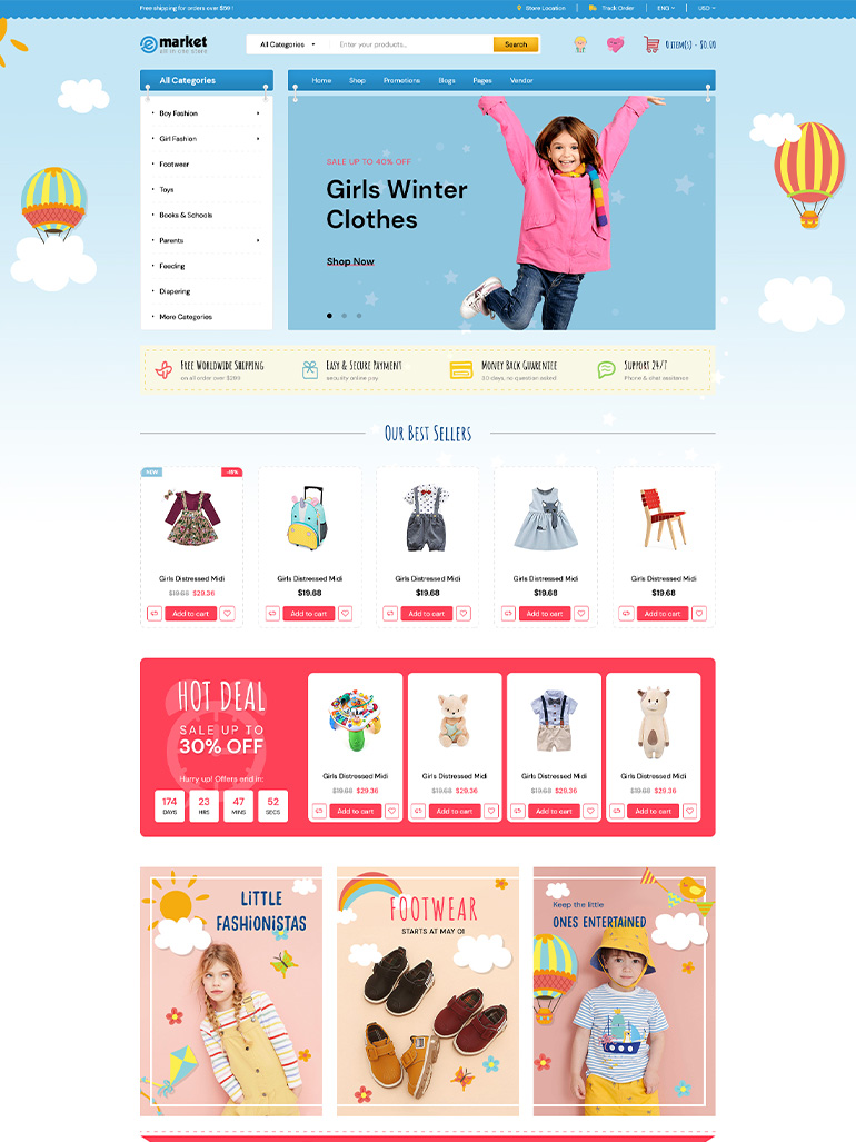 eMarket -Multi Vendor MarketPlace Elementor WordPress Theme