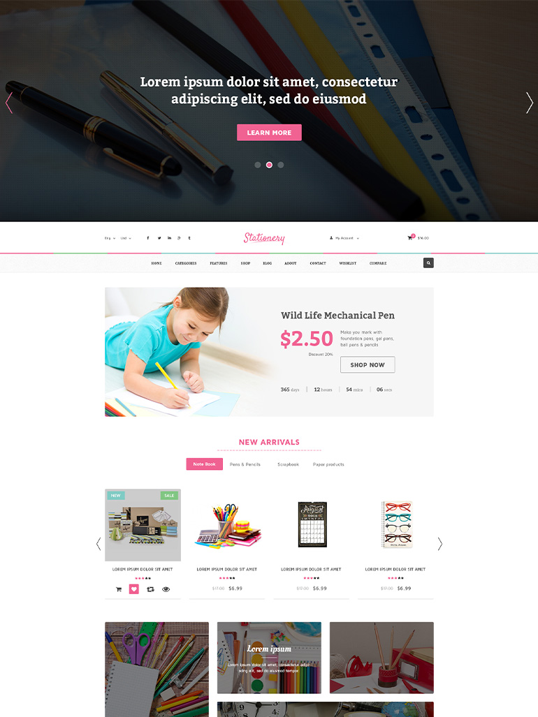 Stationery Shop WooCommerce WordPress Theme
