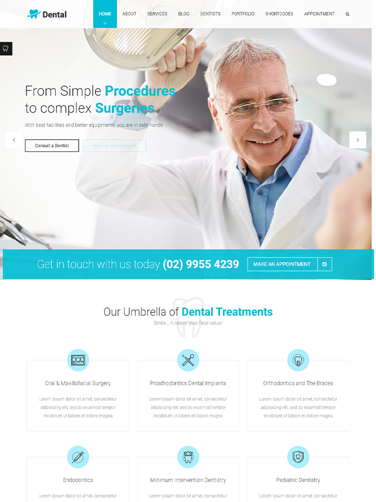 Dental Clinic - Dentist WordPress Theme