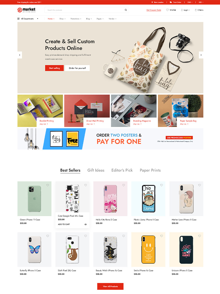 eMarket -Best Printing Store WooCommerce WordPress Themes 2020