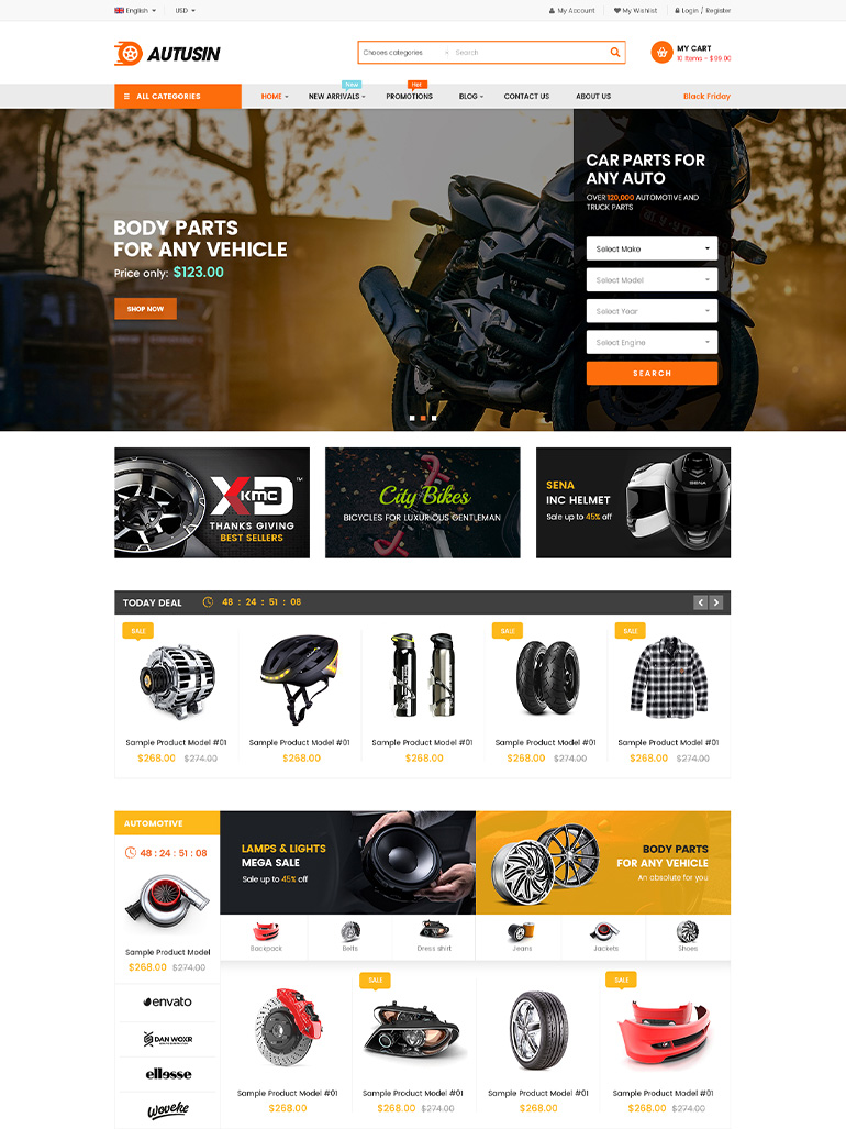 Autusin - Auto Parts Shop Elementor WordPress Theme