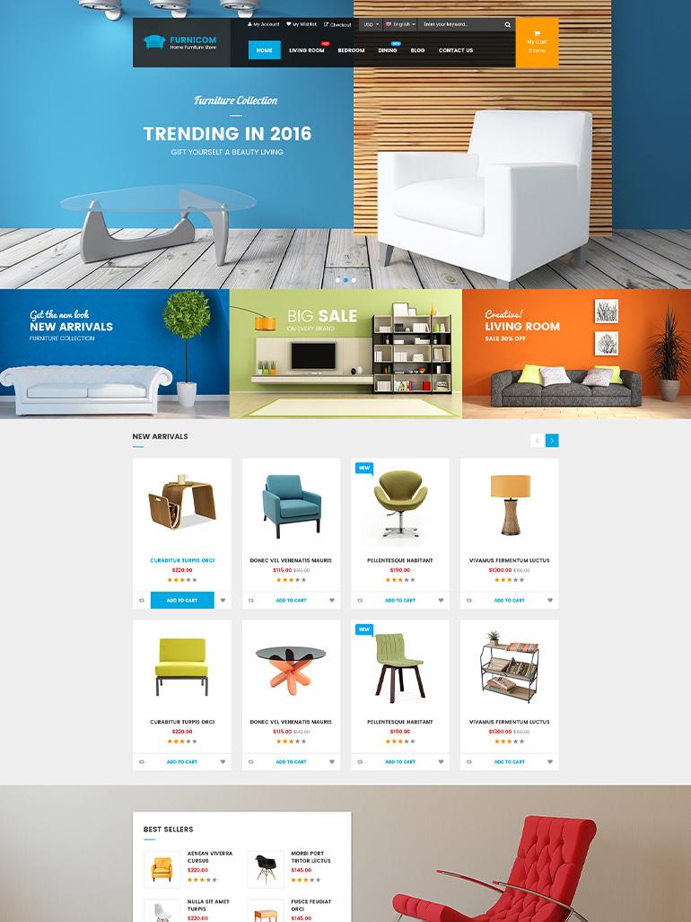 furnicom furniture shop interior design wordpress theme
