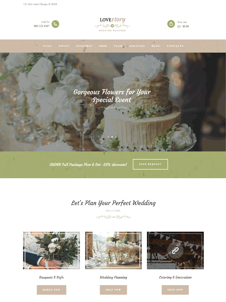 Love Story - Beautiful wedding and event planner WordPress theme
