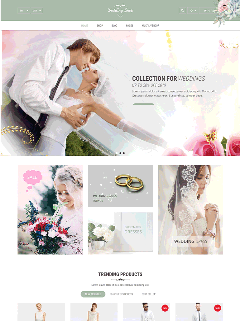Wedding Shop - Love paradise WooCommerce WordPress theme