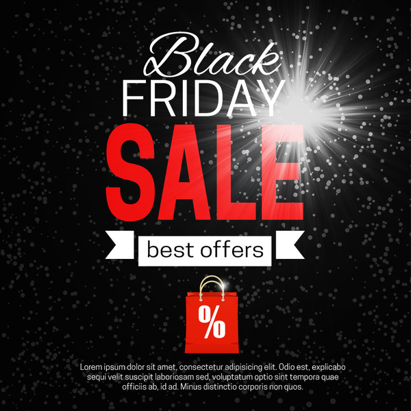 Black Friday banner with flash on dark background vector