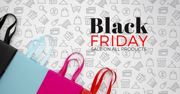 Top View Black Friday Concept Plain Background