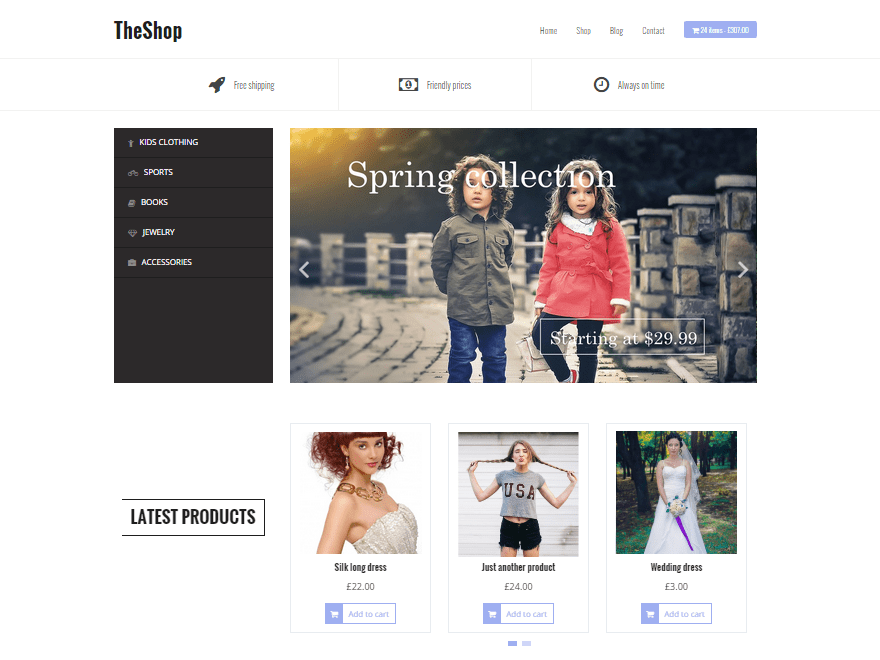 TheShop - free ecommerce wordpress theme with demo content