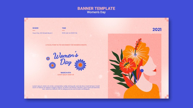 Beautiful women's day horizontal banner illustrated Free Psd