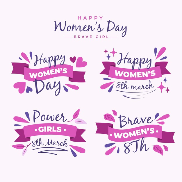 Flat international women's day badge collection Free Vector