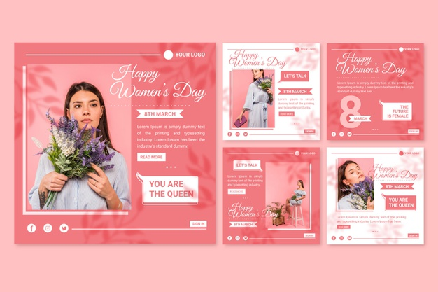 Flat international women's day instagram posts collection Free Vector