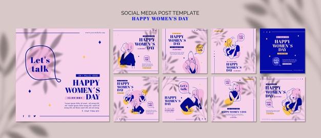 Happy woman day social media post Free Psd
