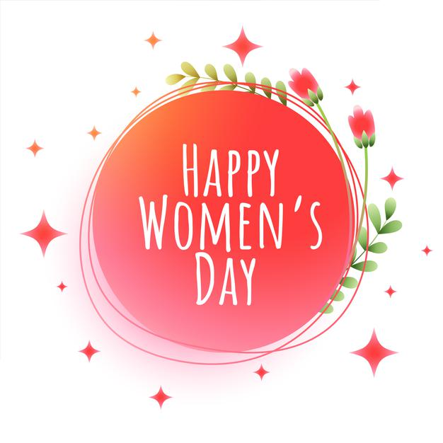 Happy women's day flowers and stars greeting card Free Vector