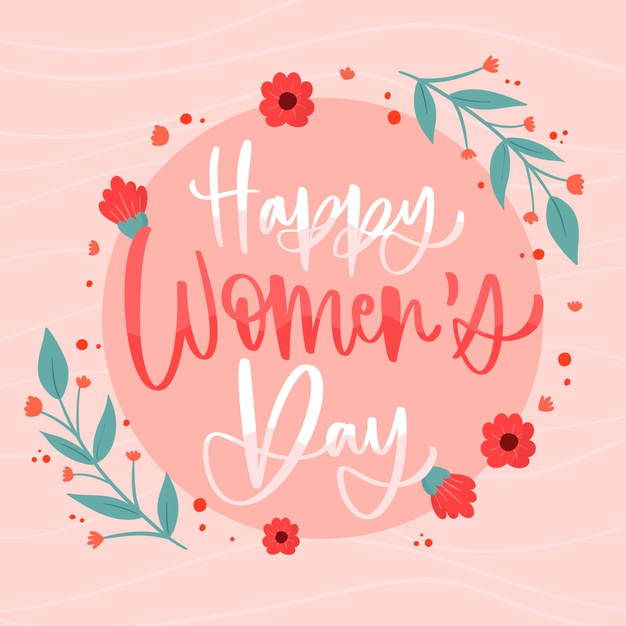 Happy women's day lettering Free Vector