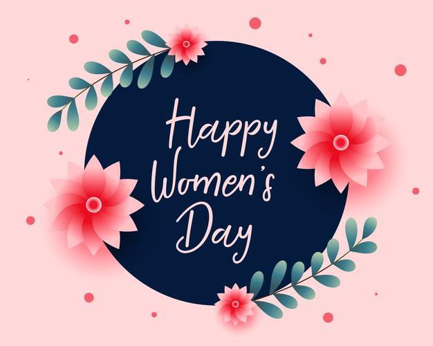 Nice happy women's day flower greeting card Free Vector