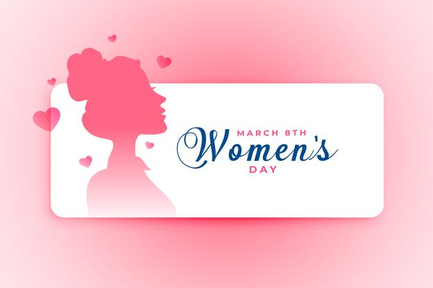 Women's day poster with girl face and hearts Free Vector