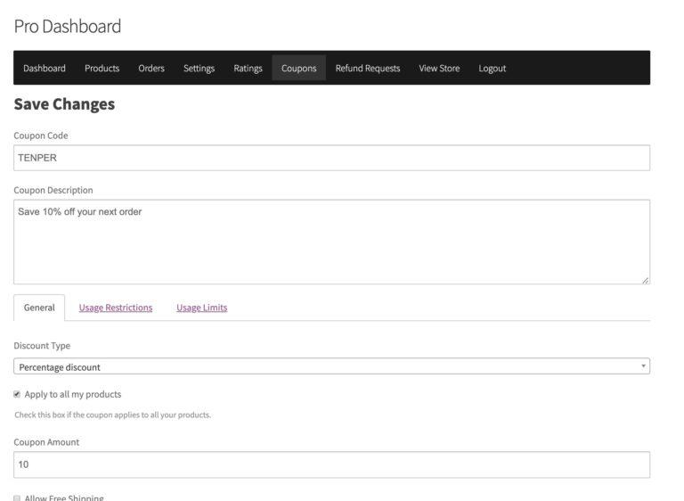 Discount Management - WC Vendors Marketplace WordPress Plugin