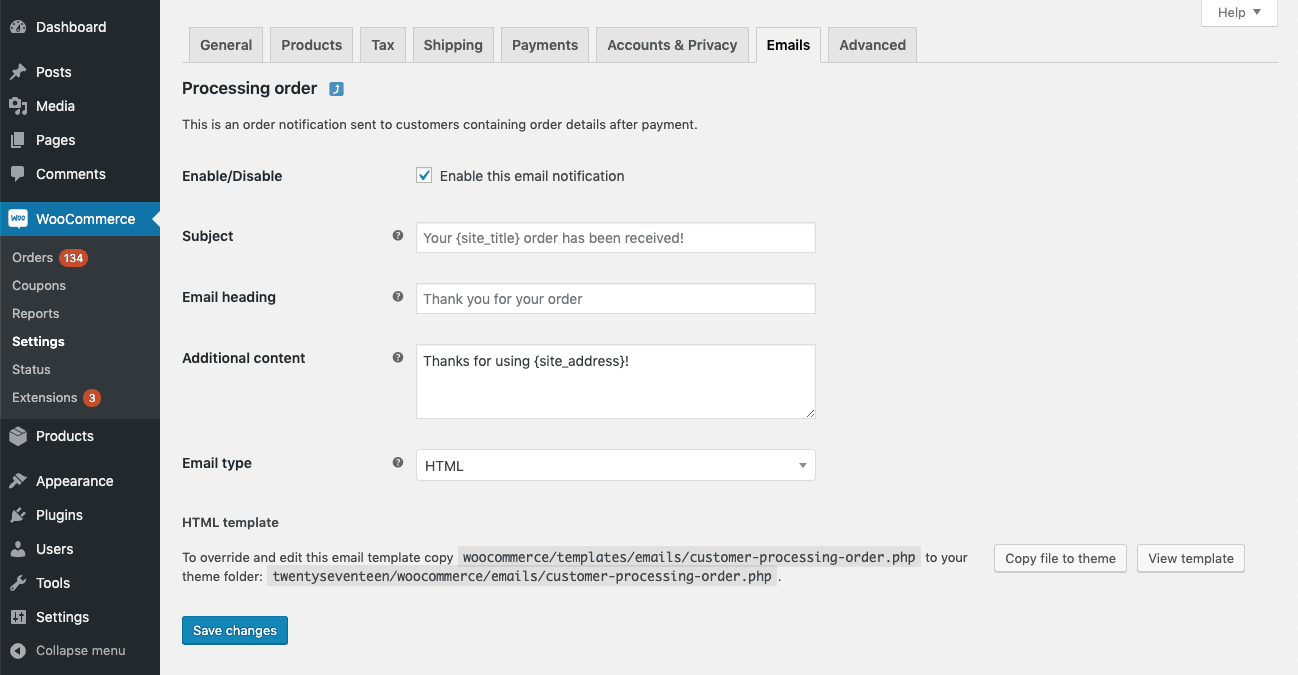 WooCommerce 3.7 Email Settings