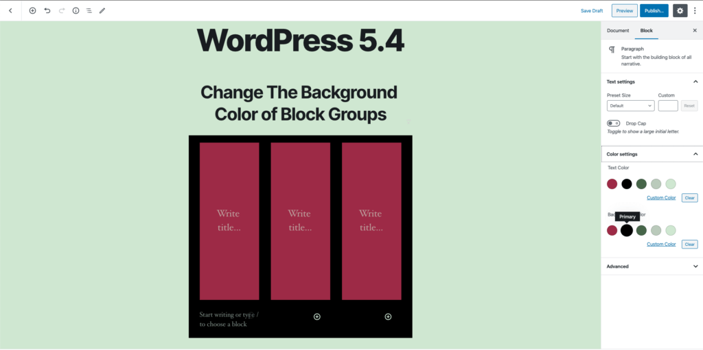 WordPress 5.4 - block background color