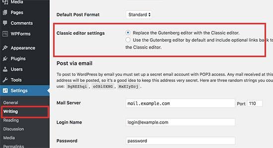 Classic editor settings