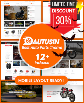 30% OFF on Autusin - Auto Parts & Car Accessories Shop WordPress Theme