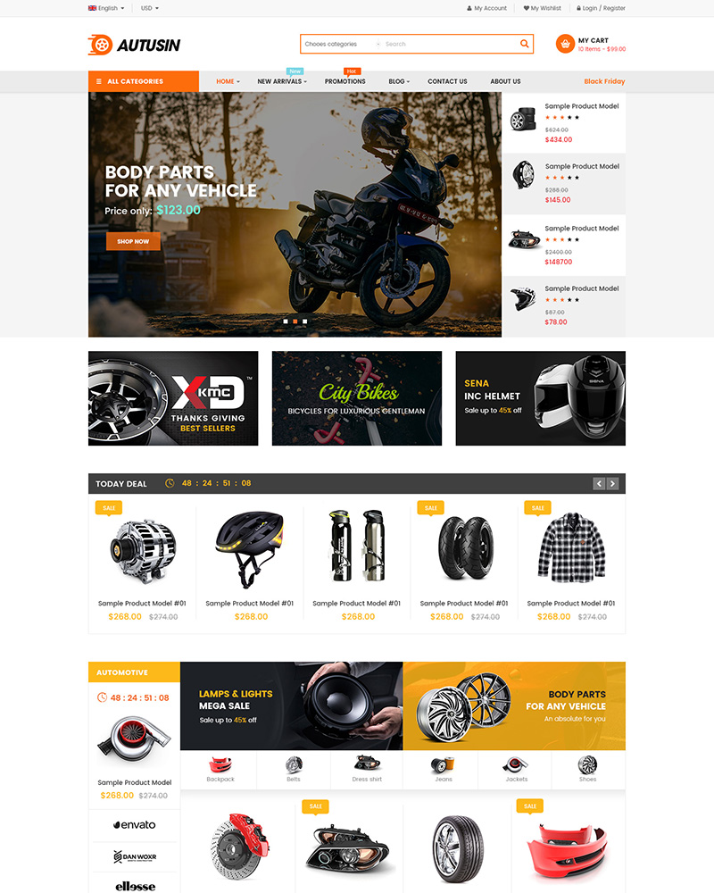 Autusin - Best Selling Auto Parts Shop WordPress Theme