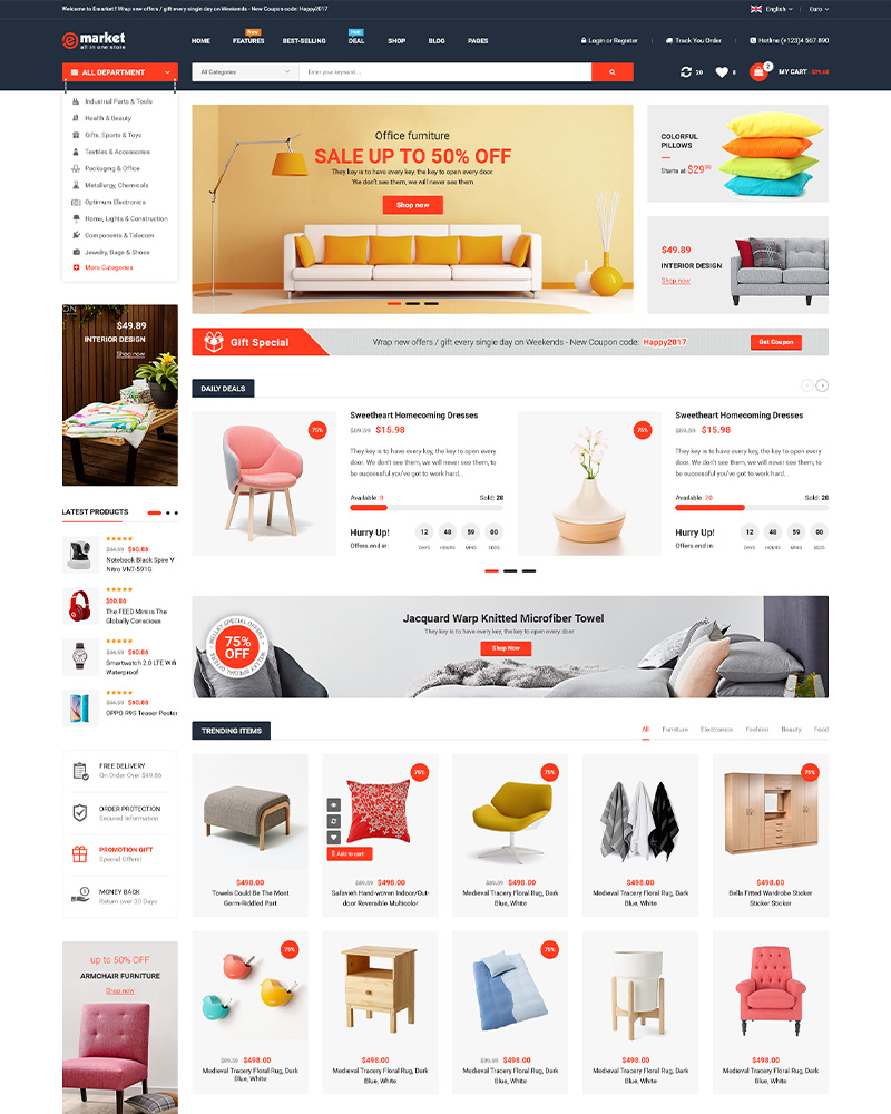 eMarket - Multi Vendor MarketPlace WooCommerce 4.3 WordPress Theme