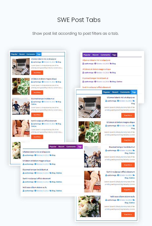 Post Tab Slider Widget in Post Elements Plugin - Elementor Addon for Blog, Newspaper, Magazine