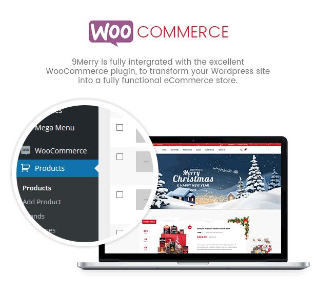 9Merry - Christmas Gift, Card & Decoration Store WordPress Theme