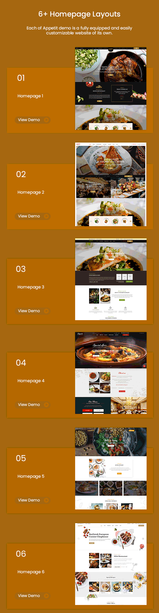 Homepage Appetit - Premium Food & Restaurant WordPress Theme