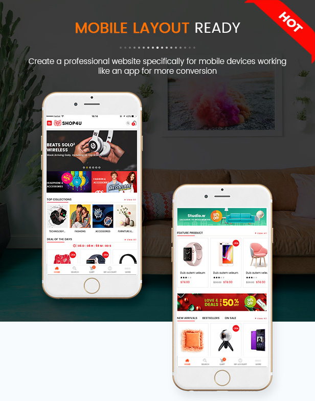 SW Shop4U - MarketPlace WordPress Theme - Mobile Layout