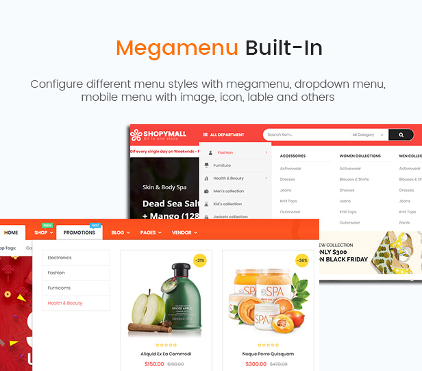 Multi Vendor MarketPlace WordPress Theme - ShopyMall - Mega Menu