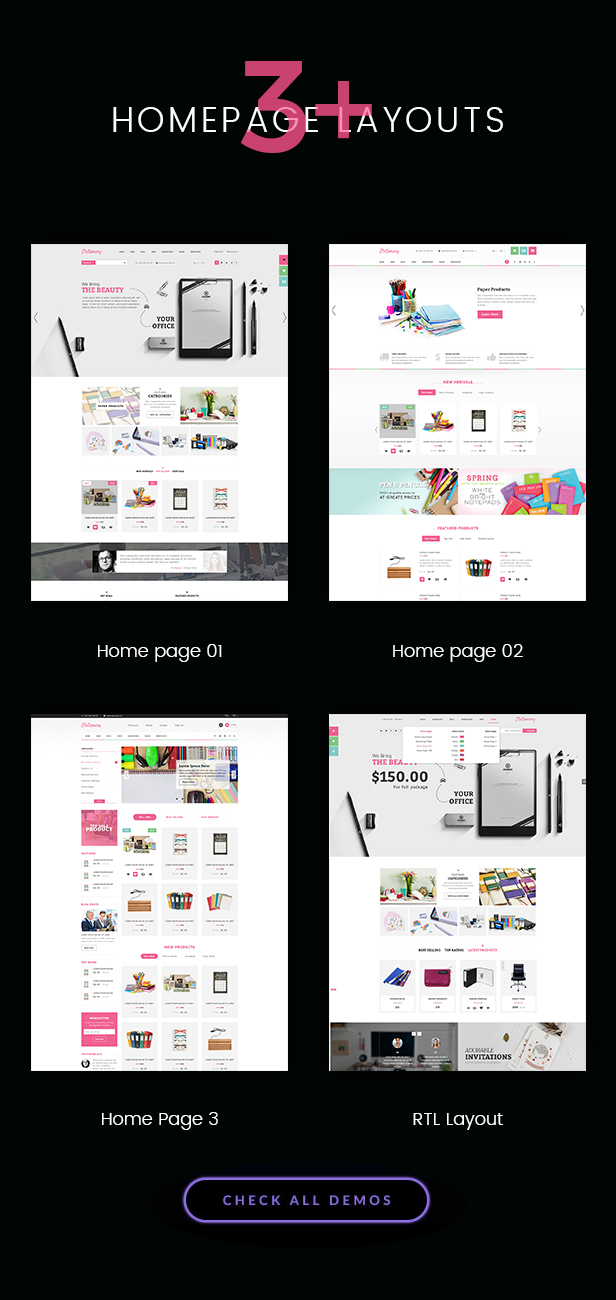 Homepage of Stationery - WordPress theme for Office Supplies