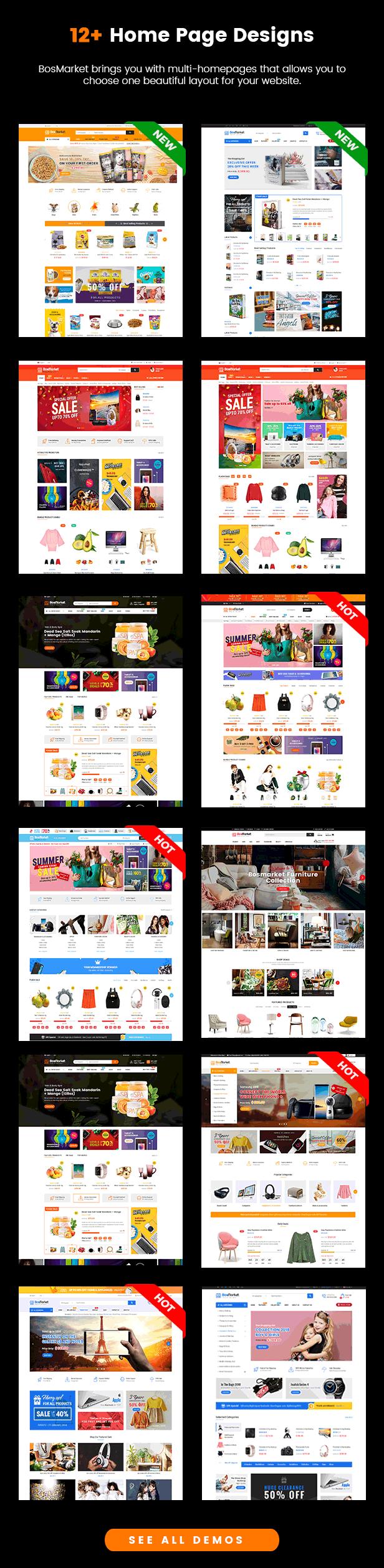 BosMarket - Flexible Multivendor WooCommerce WordPress Theme - Homepages