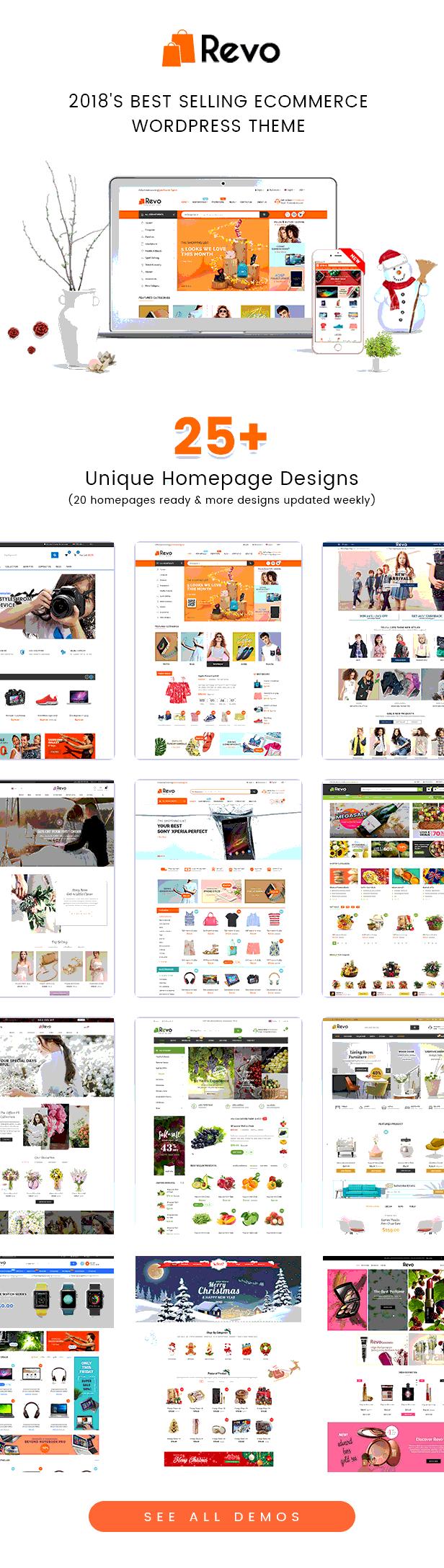 Homepages of Revo Best Multipurpose WooCommerce Theme