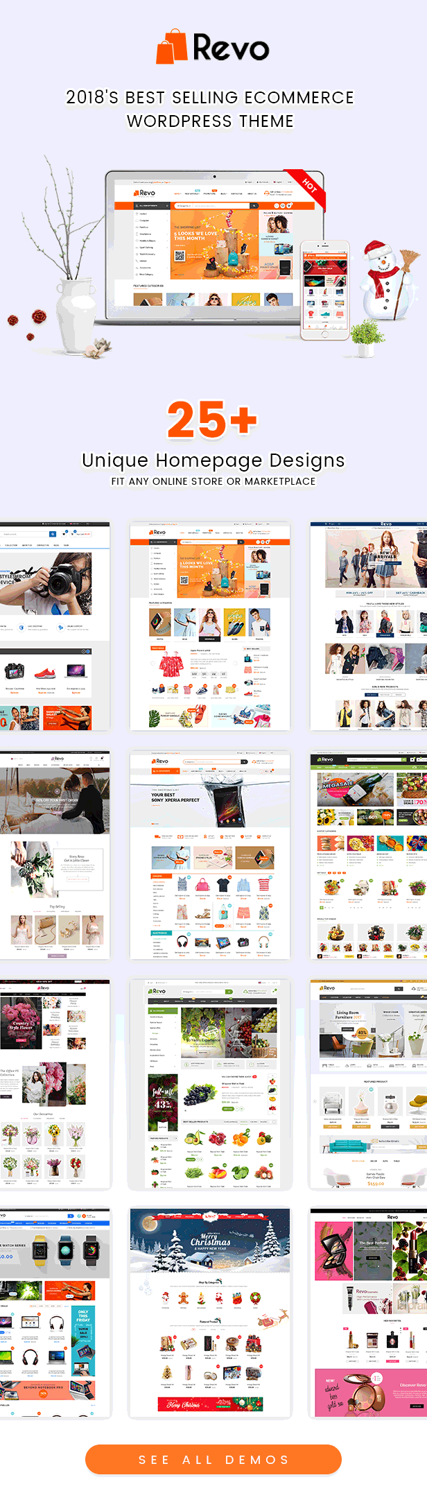 Homepages of Revo Best Multipurpose WooCommerce WordPress Theme
