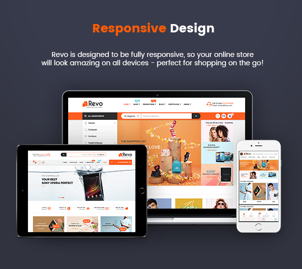 Fully Responsive - Revo Multipurpose WooCommerce WordPress Theme