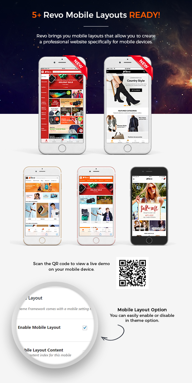 Mobile Layouts of Multipurpose WooCommerce WordPress Theme