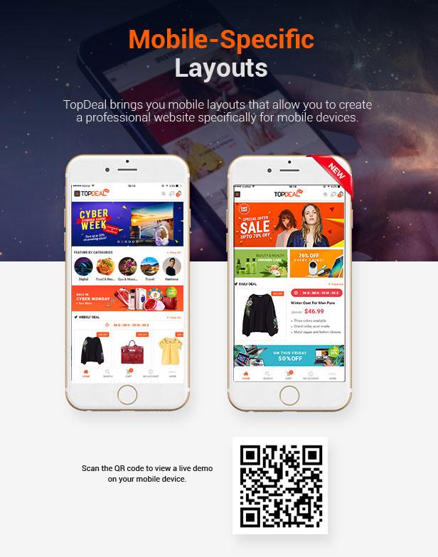 Mobile Layout TopDeal - Multi Vendor Marketplace WordPress Theme